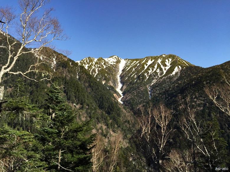 登山道から見える常念岳