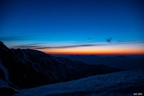 杓子岳 テント泊 ブルーアワー