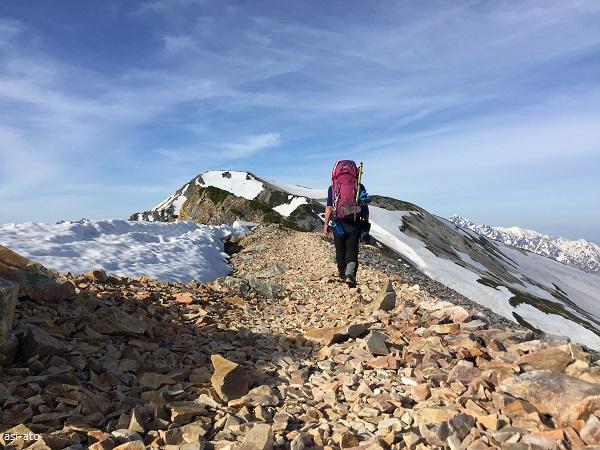 杓子岳 稜線